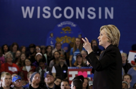 U.S. Democratic presidential candidate Hillary Clinton speaks at a campaign event in Milwaukee
