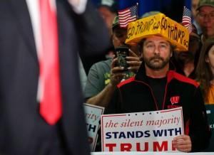 A supporter listens to U.S. Republican presidential candidate Donald Trump in La Crosse