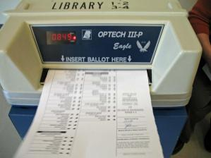 Ballot in voting machine